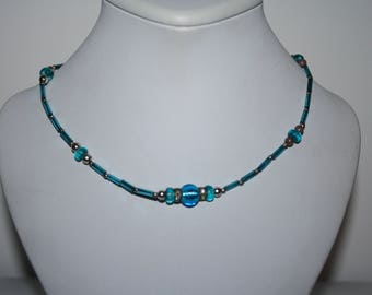 Beautiful Gold Toned Necklace with Blue Glass Beads Wire Necklace Rhinestones 17in