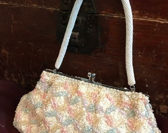 Midcentury Beaded Sequined Evening Bag/Wedding/Bride/Ivory Pale Pink Yellow Blue/Converts to Clutch/Fortune/British Hong Kong/Jackie Kennedy
