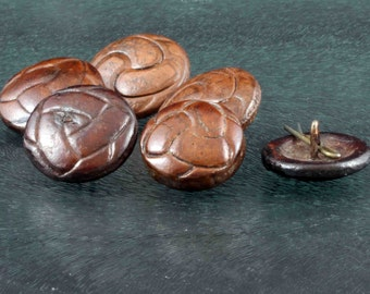 Vintage Soccer Football Button Selection of 6 Round Brown Bakelite  - 23 to 28 mm diameter