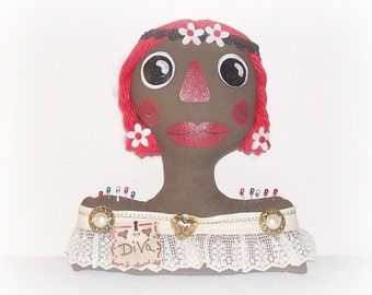 Diva Doll Pincushion Shelf Sitter Doll Flower Child Bust Home Decor FolkArt Weighted Rag Doll Pincushion Painted Doll Bust ICreateAndCollect
