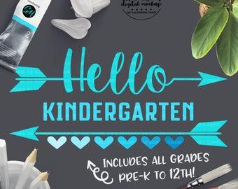 Hello Kindergarten SVG, School svg, Back to School svg, School Cut File, 1st Day Kindergarten, Cut Files for Silhouette for Cricut
