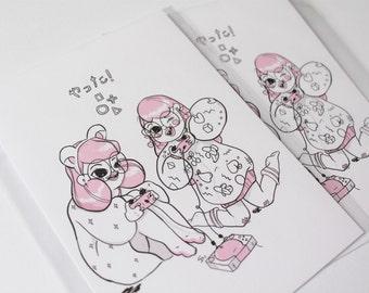 Video Girls post card print A6! Digital illustration, kawaii, Japan