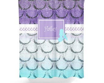 Mermaid Shower Curtain, Personalized Bath Curtain, Girls Bathroom Decor,  Beach Bathroom Decor,