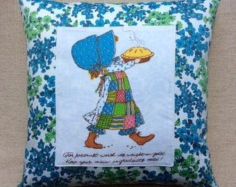 Vintage 1970s Holly Hobbie Applique Fabric Cushion With Interior 40cmx 40cm