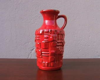 Red Vintage Vase by Ü-Keramik with relief decor - West German Pottery - Fat Lava era - 60s - Mid Century Modern - 1687 21