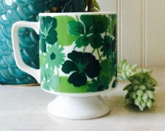 Vintage Retro, Green Flower, Pedestal, Coffee Cup, Mug, Cottage, Mid Century, Kitchen Decor, Pantone Color