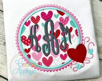 Hearts Monogram Applique Frame Valentine's Day Digital Machine Embroidery Design 4 Sizes, monogram frame applique, hearts frame applique