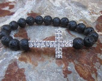 beaded cross bracelet bohemian Lava stone bracelet cross rosary bracelet rhinestone stretch bracelet black silver bracelet women's bracelet