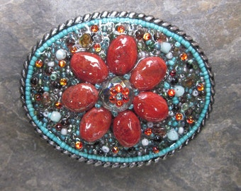 women's belt buckle embellished belt buckle Turquoise Coral flower Southwestern beaded belt buckle Boho bohemian stone Belt Buckle women's