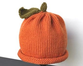 Hand Knit Pumpkin Hat for Infants & Children