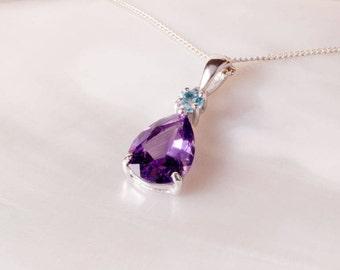 Amethyst Pendant, Sterling Silver Pendant, Blue Topaz, Amethyst Jewellery, Amethyst Teardrop, Silver Amethyst Necklace, UK Seller, Jewellery