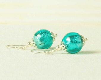 Glass Jewellery, Green Murano Earrings, Silver Murano Bead Earrings,  Venetian Glass Earrings, Sterling Silver, Marino Verde, Sea Foam Glass