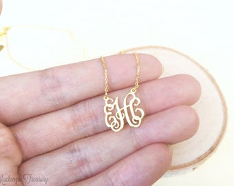 SALE Personalized Monogram Necklace - Tiny Monogram Necklace 3 Initials Necklace - Monogram Necklace - Bridesmaid Gift - Wedding Necklace