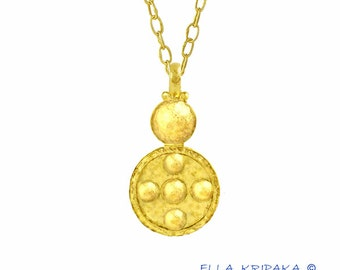 Sale 20% Solid 22k Gold 40mm 5g Width 21mm Boho Dome Disks Byzantine Empire Hammered Fine Gold Pendant Men Women by Ella Kripaka