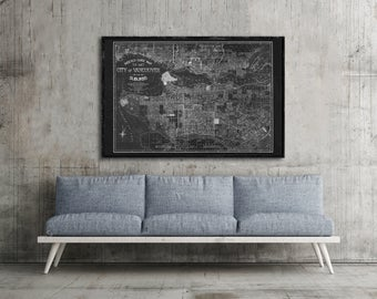"1914 Vancouver panorama, Vintage Canada map home decor reprint - 4 large/XL sizes up to 54"" x 36"""