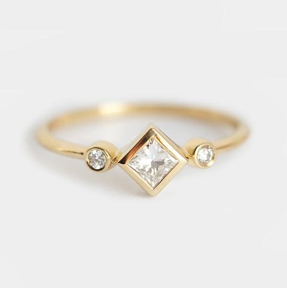 Princess Diamond Ring Three Stone Ring Kite Diamond Ring