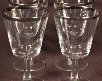 Cocktail Glasses Silver Rim Stemware Rimmed Banded