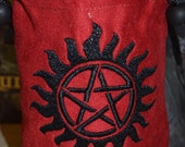 Dice Bag Supernatural Embroidery on red Suede