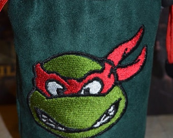 Dice Bag Raphael Double sided Embroidery Green Suede