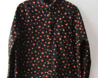 Womens Halloween Shirt Pumpkin Print Shirt Large Size Halloween Shirt Dress Vintage Cotton Blouse Pumpkin Holiday Shirt