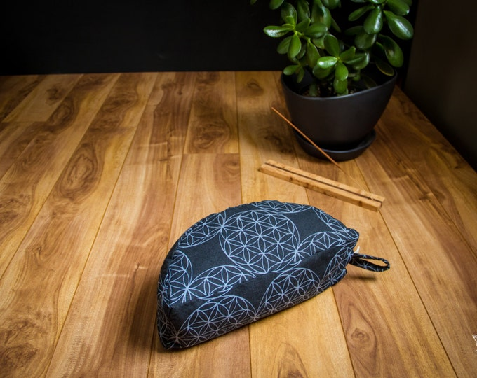 Crescent meditation cushion  Flower of life black travel half moon zafu buckwheat pillow - handmade by Creations Mariposa C-FVN