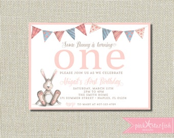 Bunny Birthday Invitation, Some Bunny Is Turning One, Some Bunny Invitation, Bunny Invitation, Spring, Bunny First Birthday Invitation, Pink