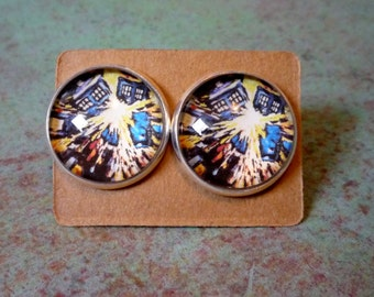 Doctor Who Exploding Tardis Earrings, yellow and blue tardis earrings, T.A.R.D.I.S. jewelry, Doctor who jewelry , tardis blue jewelry, dw