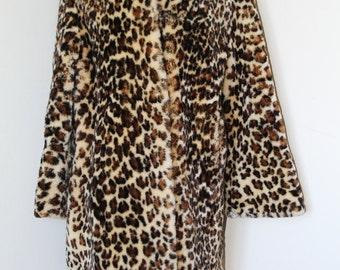 60s Vintage Rockabilly Faux Leopard Coat