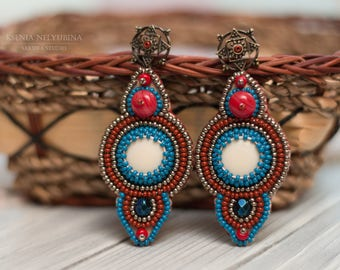 4th july Summer Outdoors Blue red earrings Jewelry gifts Earrings for women Dangle earrings Beadwork earrings Indian Earrings Tribal earring