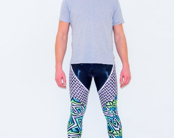 Mens Reflective Festival Leggings/Meggings in 80's Print with ZigZag panels