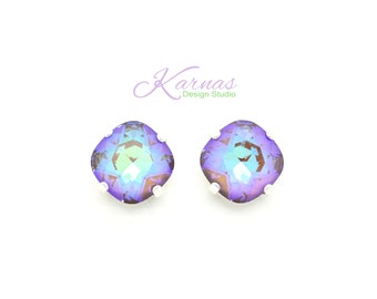 FROSTED CHOCOLATE 12mm Crystal Cushion Cut Stud Earrings Swarovski Elements *Pick Your Finish *Karnas Design Studio™ *Free Shipping*