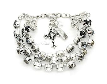 CASSANDRA 8mm 3 Row Crystal Bracelet Made With Swarovski Elements *Pick Your Finish *Karnas Design Studio *Free Shipping