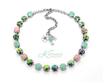 LUAU 10mm or 47ss Crystal & Fire Opal Necklace Made With Swarovski Elements *Pick Your Finish *Karnas Design Studio *Free Shipping*