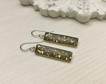 Reduced/Sterling Silver-Glass/Resin Earrings