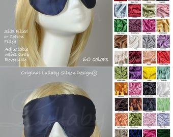 silk eye mask, satin sleep mask, blue, eye mask, fully adjustable, reversible, anti aging, skin care, light blocking, travel mask ..rm1