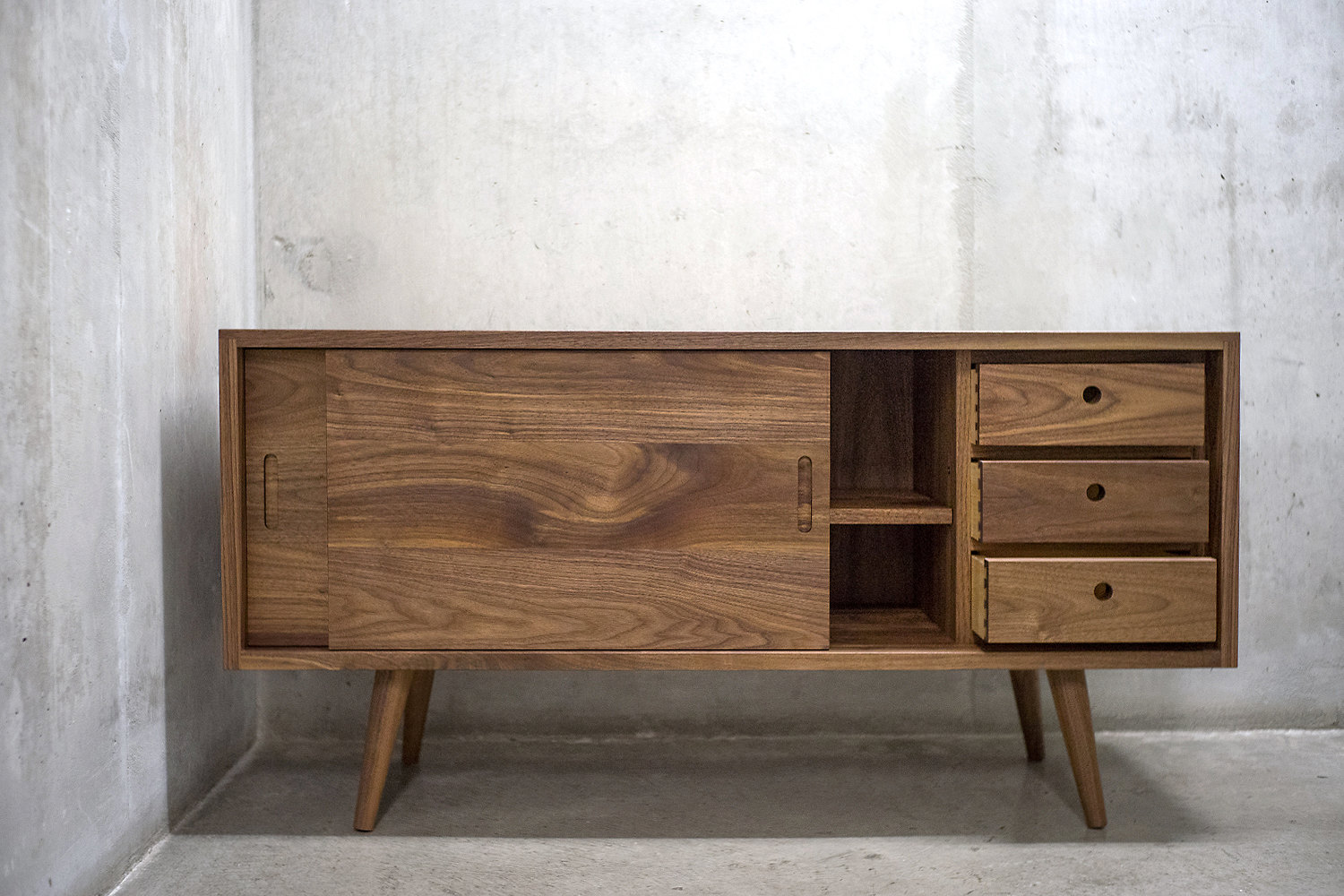 Solid black walnut credenza sideboard by solidwoodlimited
