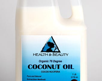 7 Lb, 1 gal COCONUT OIL 76 DEGREE Organic Carrier Cold Pressed Refined 100% Pure