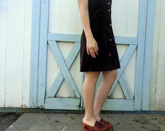 Vintage Chocolate Brown Jumper 90s Button Down Womens Size Medium
