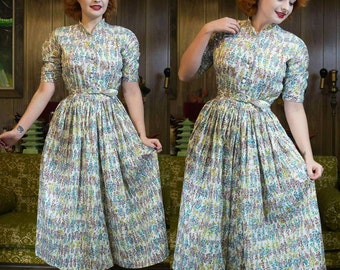 "1940s Novelty Dress | 40s Cotton Dress | 40s Dress | 1940s Dress | Full Skirt | Flower Pots | Novelty Print | 1940s Day Dress | 26"" Waist"