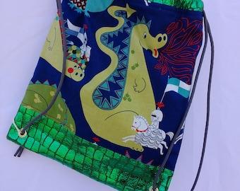 Toddler dragon drawstring backpack, dragon backpack, knight backpack