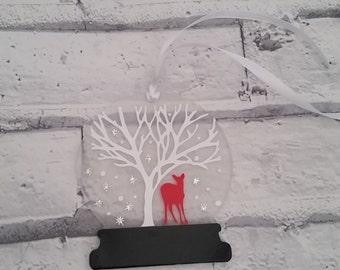Beautiful Winter Deer Hanging Snowglobe