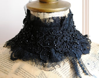 Victorian Black Lace Collar, Gothic Collar with Crystals,Penny Dreadful Neck Corset-Ready to Ship