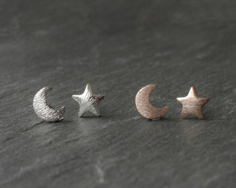 Rose Gold  Silver Moon Star Earrings -Matte Silver Plated Jewellery- Bohemian Crescent-Vintage Style Studs-Witchy Boho Hippy-Brushed Metal
