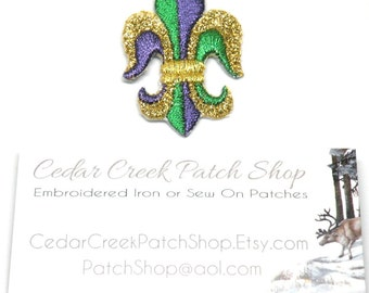 Fleur De Lis, Embroidery Design, Purple Metallic Gold Iron on Applique Fleur De Lis Gift by Cedar Creek patch Shop on Etsy