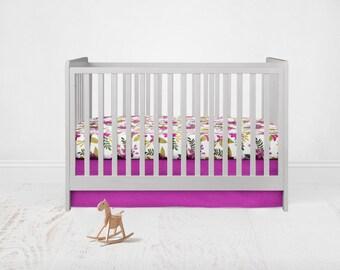 Straight Crib Skirt - Kona Cotton - Geranium. Baby Bedding. Crib Bedding. Crib Skirt. Purple Crib Skirt.