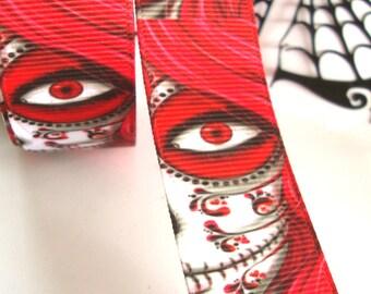 Halloween Ribbon, Skull Ribbon,Birthday Girl, Gift  Ribbon,sold per yard