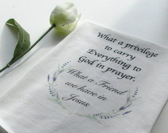 Flour Sack Towel, Dish Towel, Hymn Towel, Tea Towel, What a Friend We Have In Jesus, Hymns, Kitchen Towel, Housewarming Gift, Religious Gift