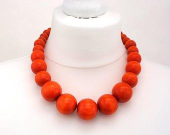 Orange Wooden Bead Necklace | Chunky Orange Necklace | Orange Beaded Necklace