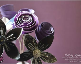 Paper Flowers - Bunch of 7 Flowers - Decor-flower with stem