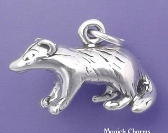 BADGER Charm .925 Sterling Silver Honey Badger Pendant - lp3080